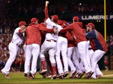 Oct 7, 2014; St. Louis, MO, USA; St. Louis Cardinals players celebrate on the field after defeating the Los Angeles Dodgers during game four of the 2014 NLDS baseball playoff game at Busch Stadium. Mandatory Credit: Scott Rovak-USA TODAY Sports