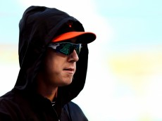 KANSAS CITY, MO - OCTOBER 21: Tim Lincecum #55 of the San Francisco Giants looks on prior to Game One of the 2014 World Series against the Kansas City Royals at Kauffman Stadium on October 21, 2014 in Kansas City, Missouri.  (Photo by Elsa/Getty Images)