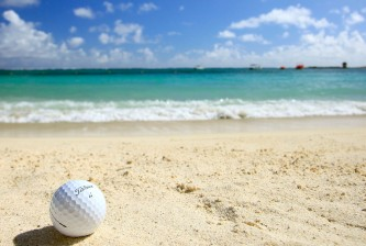 POSTE DE FLACQ, MAURITIUS - DECEMBER 09:  A golf ball sits on the beach during the final round of the MCB Tour Championship played at the Legends Course, Constance Belle Mare Plage on December 9, 2012 in Poste de Flacq, Mauritius.  (Photo by Phil Inglis/Getty Images)