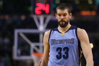 BOSTON, MA - MARCH 11:  Marc Gasol #33 of the Memphis Grizzlies looks on during the fourth quarter against the Boston Celtics at TD Garden on March 11, 2015 in Boston, Massachusetts. The Celtics defeat the Grizzlies 95-92. NOTE TO USER: User expressly acknowledges and agrees that, by downloading and/or using this photograph, user is consenting to the terms and conditions of the Getty Images License Agreement.   (Photo by Maddie Meyer/Getty Images)