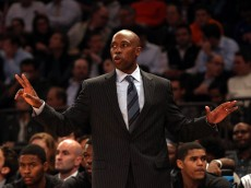 Orlando Magic head coach Jacque Vaughn reacts in the first half against the New York Knicks at Madison Square Garden. Mandatory Credit: Noah K. Murray-USA TODAY Sports