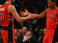 Greivis Vasquez & Kyle Lowry ( Raptors @ Nets - Game 4 - NBAE/Getty Images)