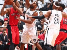 Alan Anderson defends DeMar DeRozan as he tries to pass to Amir Johnson who is defended by Paul Pierce.  (Raptors vs. Nets – Game 6 – NBAE/Getty Images)