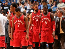 ORLANDO, FL - NOVEMBER 6: The Toronto Raptors head off the court after the game against facing the Orlando Magic on November 6, 2015 at Amway Center in Orlando, Florida. NOTE TO USER: User expressly acknowledges and agrees that, by downloading and or using this Photograph, user is consenting to the terms and conditions of the Getty Images License Agreement. Mandatory Copyright Notice: Copyright 2015 NBAE (Photo by Fernando Medina/NBAE via Getty Images)