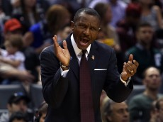 TORONTO, ON - DECEMBER 05:  Head Coach Dwane Casey of the Toronto Raptors shouts from the bench during an NBA game against the Golden State Warriors at the Air Canada Centre on December 05, 2015 in Toronto, Ontario, Canada.  NOTE TO USER: User expressly acknowledges and agrees that, by downloading and or using this photograph, User is consenting to the terms and conditions of the Getty Images License Agreement.  (Photo by Vaughn Ridley/Getty Images)