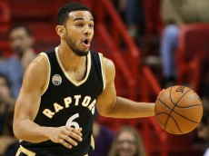 MIAMI, FL - DECEMBER 18:  Cory Joseph #6 of the Toronto Raptors brings the ball up looks on during a game against the Miami Heat at American Airlines Arena on December 18, 2015 in Miami, Florida. NOTE TO USER: User expressly acknowledges and agrees that, by downloading and/or using this photograph, user is consenting to the terms and conditions of the Getty Images License Agreement. Mandatory copyright notice:  (Photo by Mike Ehrmann/Getty Images)