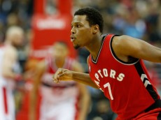 WASHINGTON, DC - JANUARY 08:  Kyle Lowry #7 of the Toronto Raptors celebrates after hitting a three pointer against the Washington Wizards in the second half at Verizon Center on January 8, 2016 in Washington, DC. NOTE TO USER: User expressly acknowledges and agrees that, by downloading and or using this photograph, User is consenting to the terms and conditions of the Getty Images License Agreement.  (Photo by Rob Carr/Getty Images)
