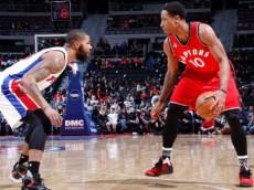 DeMar DeRozan (Toronto Raptors) drives against Marcus Morris (Detroit Pistons). February 8, 2016 (via NBA.com)