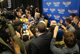 Kobe Bryant speaks to the media during 2016 NBA All-Star Media Availability on Friday Feb. 12, 2016 (HoopHeadsNorth.com)