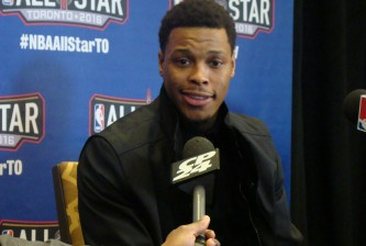Kyle Lowry speaks to the media during 2016 NBA All-Star Media Availability on Friday Feb. 12, 2016 (HoopHeadsNorth.com)