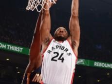 Norman Powell (Toronto Raptors) elevates for a dunk against the Indiana Pacers. April 8, 2016 (via NBA.com)