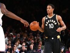 DeMar DeRozan (Toronto Raptors) dribbles towards Jerian Grant (New York Knicks). April 10, 2016 (via NBA.com)