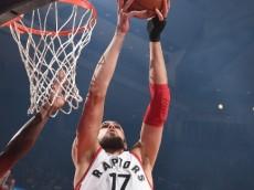 Jonas Valanciunas (Toronto Raptors) rises to the rim against the Philadelphia 76ers. April 12, 2016 (via NBA.com)
