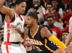 Paul George (Indiana Pacers) drives against DeMar DeRozan (Toronto Raptors). April 16, 2016 (via NBA.com)