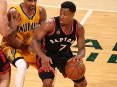 Kyle Lowry (Toronto Raptors) dribbles past George Hill (Indiana Pacers) on a pick set by Luis Scola (Toronto Raptors). April 21, 2016 (via NBA.com)