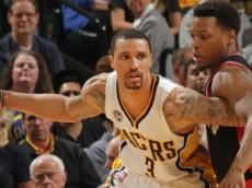 George Hill (Indiana Pacers) battles against Kyle Lowry (Toronto Raptors). April 23, 2016 (via NBA.com)