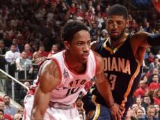 DeMar DeRozan (Toronto Raptors) drives against Paul George (Indiana Pacers). April 26, 2016 (via NBA.com)