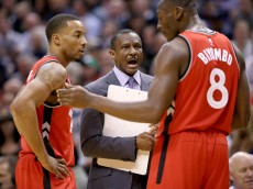 INDIANAPOLIS, IN - MARCH 17:  Dwane Casey the head coach of the Toronto Raptors gives instructions to his team against the Indiana Pacers during the game at Bankers Life Fieldhouse on March 17, 2016 in Indianapolis, Indiana. NOTE TO USER: User expressly acknowledges and agrees that, by downloading and or using this photograph, User is consenting to the terms and conditions of the Getty Images License Agreement.  (Photo by Andy Lyons/Getty Images)