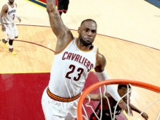LeBron James (Cleveland Cavaliers) rises for a thunderous dunk against the Toronto Raptors in  Game 1 of the 2016 NBA Eastern Conference Finals - May 17, 2016 (via NBA.com)