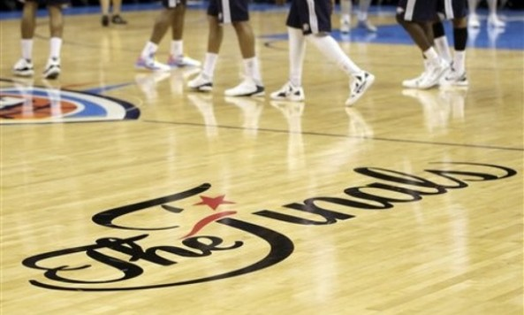 the finals logo okc floor
