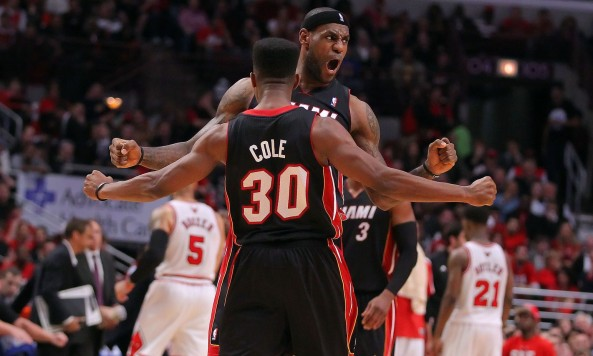 lebron and norris cole celebrating