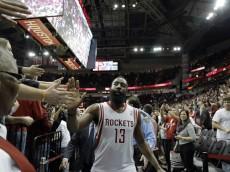 James Harden celebrates with Houston fans