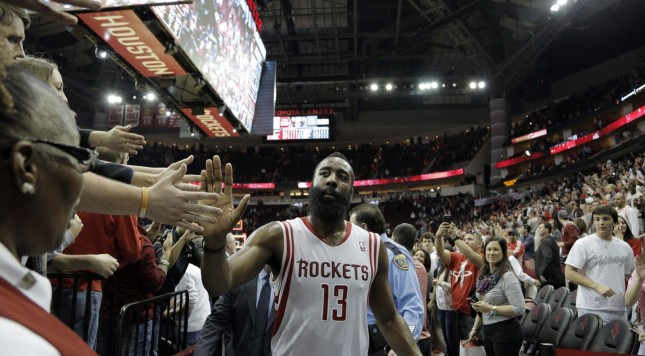 James Harden celebrates with Houston fans