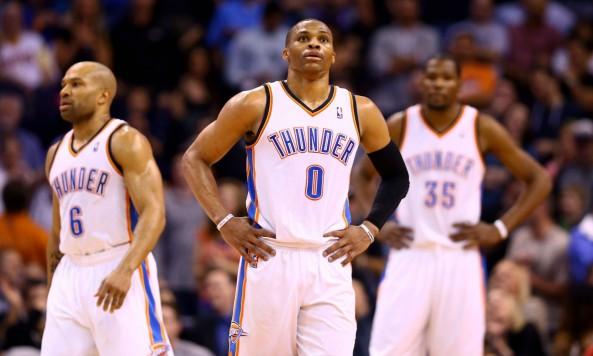 Russell Westbrook, Kevin Durant & Derek Fisher