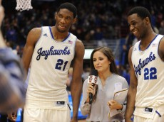 andrew wiggins & joel embiid being interviewed at kansas