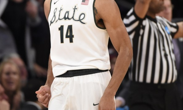 michigan state's garry harris celebrating 2014 ncaa tournament