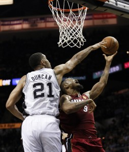 tim duncan blocks rashard lewis 2014 nba finals game 1