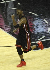 chris bosh celebrates 2014 nba finals game 2