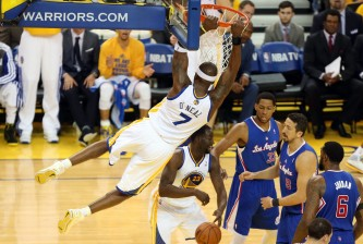 golden state's jermaine o'neal dunks on the clippers