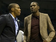 russell westbrook & kevin durant in street clothes