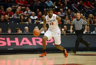 SAN DIEGO, CA - FEBRUARY 28:  Winston Shepard #13 of the San Diego State Aztecs dribbles the ball in the second half of the game against the Boise State Broncos at Viejas Arena on February 28, 2015 in San Diego, California. (Photo by Kent C. Horner/Getty Images)