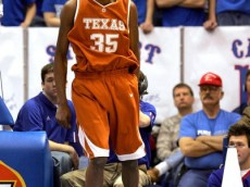 LAWRENCE, KS - MARCH 03:  Kevin Durant #35 of the Texas Longhorns celebrates after scoring in the first half of the game against the Kansas Jayhawks on March 3, 2007 at Allen Fieldhouse in Lawrence, Kansas. The Jayhawks defeated the Longhorns 90-86.  (Photo by Jamie Squire/Getty Images)