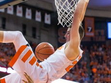 SYRACUSE, NY - JANUARY 09:  Tyler Lydon #20 of the Syracuse Orange slam dunks the ball during the second half against the North Carolina Tar Heels on January 9, 2016 at The Carrier Dome in Syracuse, New York.  North Carolina defeats Syracuse 84-73.  (Photo by Brett Carlsen/Getty Images) *** Local Caption *** Tyler Lydon