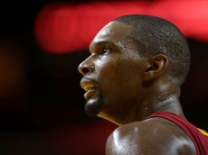 MIAMI, FL - NOVEMBER 25:  Chris Bosh #1 of the Miami Heat looks on during a game against the Golden State Warriors at American Airlines Arena on November 25, 2014 in Miami, Florida. NOTE TO USER: User expressly acknowledges and agrees that, by downloading and/or using this photograph, user is consenting to the terms and conditions of the Getty Images License Agreement. Mandatory copyright notice:  (Photo by Mike Ehrmann/Getty Images)