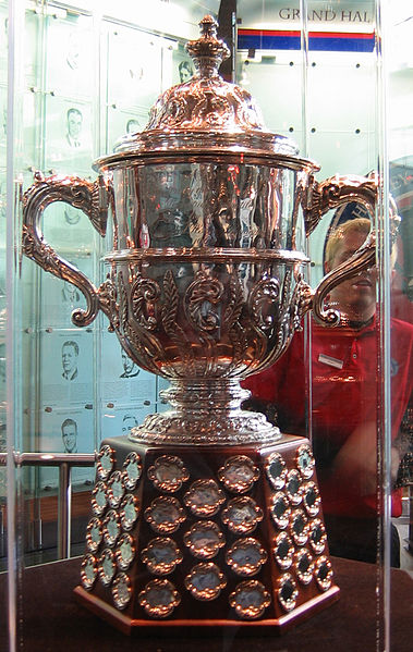 Clarence S. Campbell Bowl on display at the Hockey Hall of Fame in Toronto. The trophy is awarded annually to the NHL's Western Conference champion. Taken by Kmf164 on November 19, 2005.