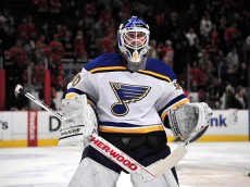CHICAGO, IL - DECEMBER 03: Martin Brodeur #30 of the St. Louis Blues warms up before the game against the Chicago Blackhawks on December 3, 2014 at the United Center in Chicago, Illinois. (Photo by David Banks/Getty Images)