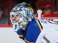 GLENDALE, AZ - JANUARY 06:  Goaltender Brian Elliott #1 of the St. Louis Blues during the NHL game against the Arizona Coyotes at Gila River Arena on January 6, 2015 in Glendale, Arizona. The Blues defeated the Coyotes 6-0.  (Photo by Christian Petersen/Getty Images)