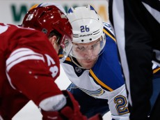 GLENDALE, AZ - JANUARY 06:  Paul Stastny #26 of the St. Louis Blues faces off during the NHL game against the Arizona Coyotes at Gila River Arena on January 6, 2015 in Glendale, Arizona. The Blues defeated the Coyotes 6-0.  (Photo by Christian Petersen/Getty Images)