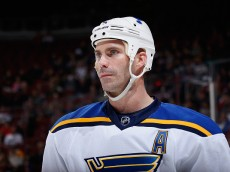 GLENDALE, AZ - JANUARY 06:  Jay Bouwmeester #19 of the St. Louis Blues during the NHL game against the Arizona Coyotes at Gila River Arena on January 6, 2015 in Glendale, Arizona. The Blues defeated the Coyotes 6-0.  (Photo by Christian Petersen/Getty Images)