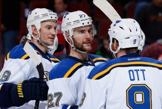 GLENDALE, AZ - JANUARY 06:  Alex Pietrangelo #27 of the St. Louis Blues following the NHL game against the Arizona Coyotes at Gila River Arena on January 6, 2015 in Glendale, Arizona. The Blues defeated the Coyotes 6-0.  (Photo by Christian Petersen/Getty Images)