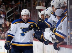 GLENDALE, AZ - JANUARY 06:  David Backes #42 of the St. Louis Blues celebrates with teammates on the bench after scoring a third period goal against the Arizona Coyotes during the NHL game at Gila River Arena on January 6, 2015 in Glendale, Arizona. The Blues defeated the Coyotes 6-0. (Photo by Christian Petersen/Getty Images)