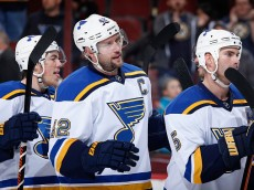 GLENDALE, AZ - JANUARY 06:  David Backes #42 of the St. Louis Blues following the NHL game against the Arizona Coyotes at Gila River Arena on January 6, 2015 in Glendale, Arizona. The Blues defeated the Coyotes 6-0.  (Photo by Christian Petersen/Getty Images)