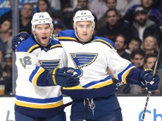 LOS ANGELES, CA - DECEMBER 18:  Kevin Shattenkirk #22 of the St. Louis Blues celebrates his goal with Paul Stastny #26 to take a 3-0 lead over the Los Angeles Kings during the first peroid at Staples Center on December 18, 2014 in Los Angeles, California.  (Photo by Harry How/Getty Images)