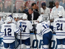 SUNRISE, FL - MARCH 3: Interim head coach Peter Horachek of the Toronto Maple Leafs directs the players during a time out against the Florida Panthers at the BB&T Center on March 3, 2015 in Sunrise, Florida. Toronto defeated Florida 3-2. (Photo by Joel Auerbach/Getty Images)