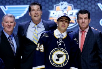 PHILADELPHIA, PA - JUNE 27:  Robert Fabbri is selected twenty-first overall by the St. Louis Blues in the first round of the 2014 NHL Draft at the Wells Fargo Center on June 27, 2014 in Philadelphia, Pennsylvania.  (Photo by Bruce Bennett/Getty Images)