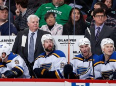 GLENDALE, AZ - JANUARY 06:  Head coach Ken Hitchcock of the St. Louis Blues watches from the bench during the NHL game against the Arizona Coyotes at Gila River Arena on January 6, 2015 in Glendale, Arizona. The Blues defeated the Coyotes 6-0.  (Photo by Christian Petersen/Getty Images)